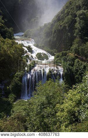 Terni (tr), Italy - May 10, 2016: The Famous Marmore Waterfall, Terni, Umbria, Italy