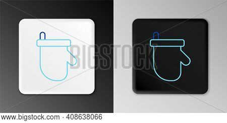 Line Sauna Mittens Icon Isolated On Grey Background. Mitten For Spa. Colorful Outline Concept. Vecto