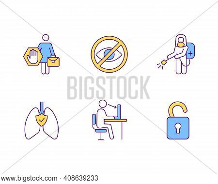 Employees Protection Rgb Color Icons Set. Human Performance And Productivity. Equal Rights. Informat