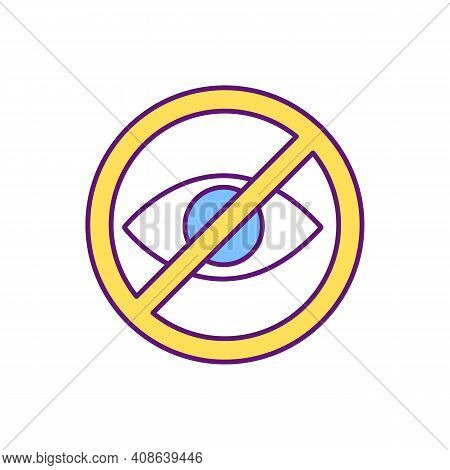 Blind People Sign Rgb Color Icon. Warning For Drivers. Visually Impaired Children Safety. Blind Pede