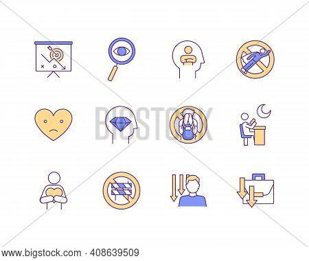 Procrastination Rgb Color Icons Set. Low Self-esteem And Depression. Life Challenges Overcome. Chron