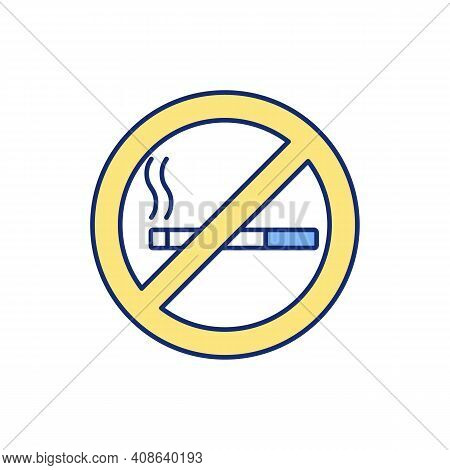 Smoking Cessation Rgb Color Icon. Nicotine Replacement Therapy. Damage To Lungs. Avoiding Harmful He