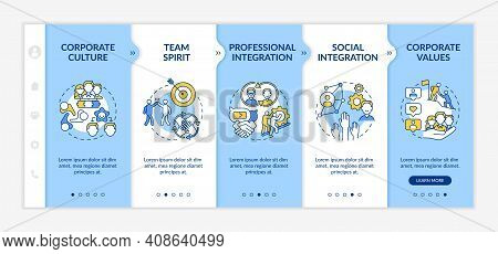 Adaptability Skills Onboarding Vector Template. Team Spirit And Integration. Improve Level Of Compan