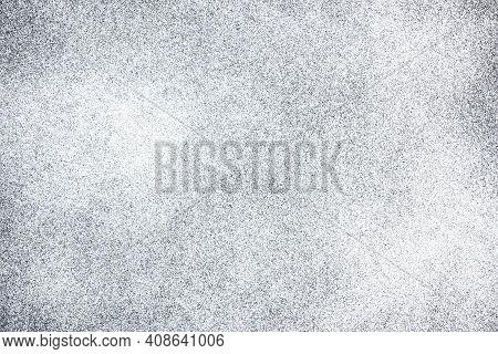 White Spray Paint On Black Paper. Noise Background. Grain Texture Overlay. Distressed Splatter Backg