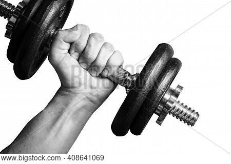 Gym Weight Isolated On White. Hand Holding Barbell. Weight Lifting Background. Empty Copy Space Trai