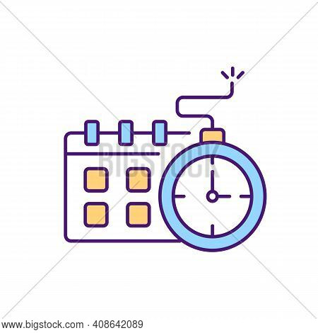 Time Expiring Contract Rgb Color Icon. Limited Time Document Agreement Process. Review Rules Of Cool