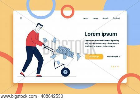 Sad Employee Wheeling Cart With Papers. Office Worker With Piles Of Reports Flat Vector Illustration