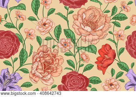 Floral Seamless Pattern. Flowers Roses And Peonies. Handmade Graphics. Victorian Style. Vector Cover