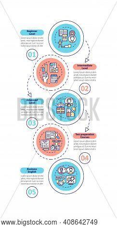 Language Proficiency Vector Infographic Template. Elementary, Advanced Level Presentation Design Ele