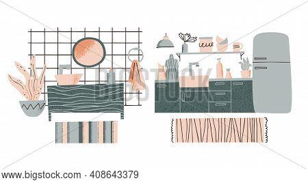 Furniture Showroom Concept. Kitchen And Bathroom Interior Design. Furniture Elements Set. Home Acces