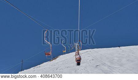 Winter Mountain Landscape Of The Elbrus Region, Kabardino-balkaria, Russia. Chairlift On Mount Chege