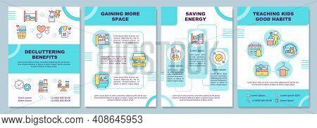 Decluttering Benefits Brochure Template. Gaining More Space. Flyer, Booklet, Leaflet Print, Cover De