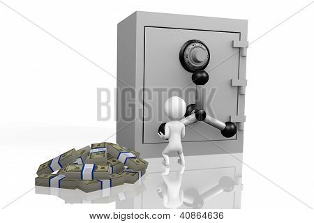 3D Human Depositing Money Into A Safe