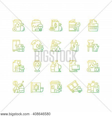 Waste Management Gradient Linear Vector Icons Set. Residential Waste Collection. Paper Shredding. Gr
