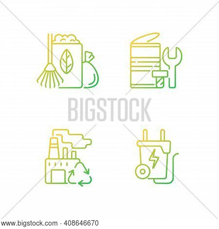 Environmental Concern Gradient Linear Vector Icons Set. Yard Waste Collection. Scrap Iron And Alumin