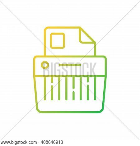 Paper Shredding Gradient Linear Vector Icon. Cutting Paper Into Either Strips, Fine Particles. Mecha
