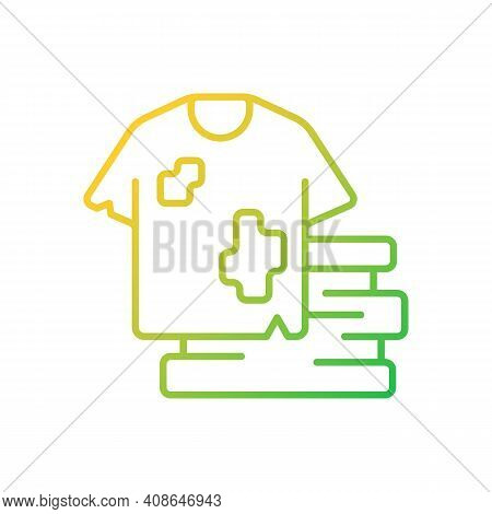 Textile Waste Gradient Linear Vector Icon. Clothing, Footwear. Fashion And Textile Industry Refuse.