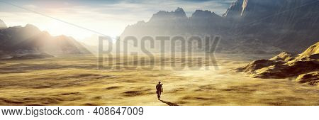 A lonely man in the dry sunset desert. 3D illustration