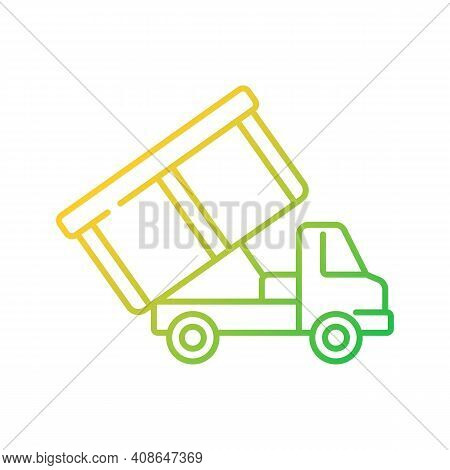 Roll-off Truck Gradient Linear Vector Icon. Open Top Dumpster. Organizational Clear Outs. Disposal O