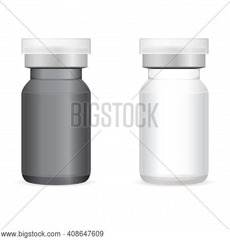 Vaccine Injection Bottle. Glass Vaccine Vial Isolated. Transparent Medicine Ampule For Liquid Corona