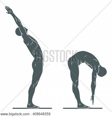Silhouette Of Human Body In Exercise Pose, Person Doing Physical Exercise, Person In Good Physical C