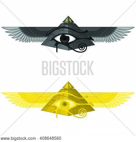 Vector Illustration Of Winged Pyramid With Eye Of Horus, Ancient Egyptian Pyramid With Wings, Winged