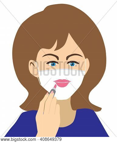A Pretty Young Woman Is Applying Lipstick To Her Face Mask