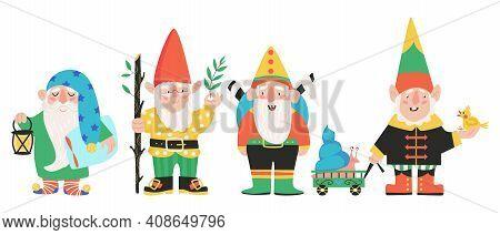 Set Of Four Garden Gnomes Or Dwarfs