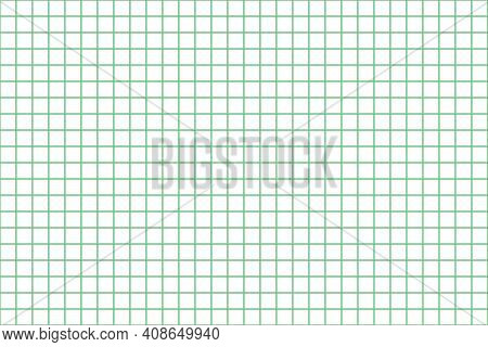 Grid Paper. Abstract Squared Background With Green Graph. Geometric Pattern For School, Wallpaper, T