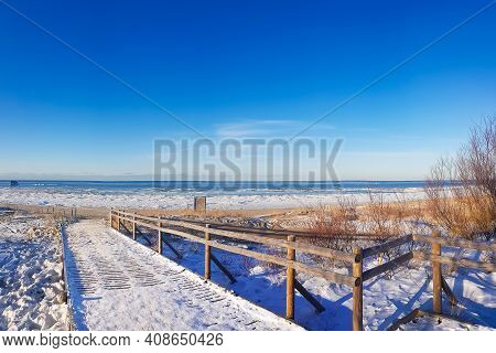 Panorama Of Winter Baltic Sea With Snow On Sunny Day In Riga, Latvia. Baltics In Winter.