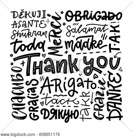 Thank You Phrases In Many Languages. Thanks Modern Phrases Handwritten Vector Calligraphy. Black Ink