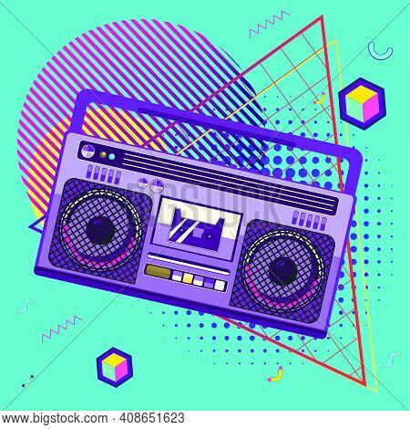 Boombox Retro Style Poster