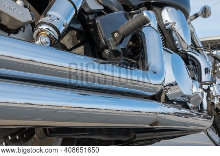 Kazan, Russia-september 26, 2020: Rear View Of The Chrome Exhaust Pipes And Engine Of A Parked Honda