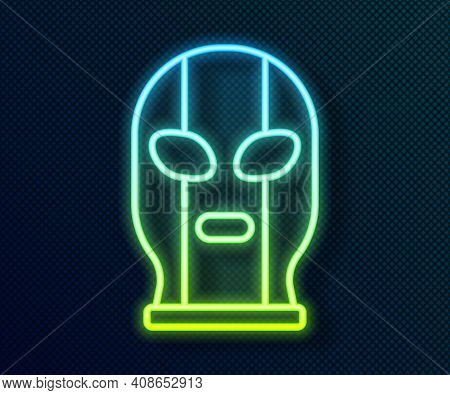 Glowing Neon Line Mexican Wrestler Icon Isolated On Black Background. Vector