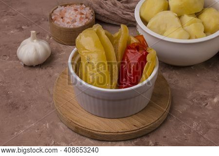 Fermented Red And Yellow Bell Peppers. Vegetarian Food. Salted Bell Peppers. Pickled Organic Bell Pe