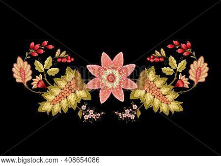 Fantasy Flowers In Retro, Vintage, Jacobean Embroidery Style. Embroidery Imitation Isolated On Black