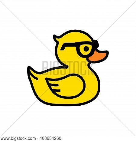 Rubber Yellow Duck In Sunglasses Icon Isolated