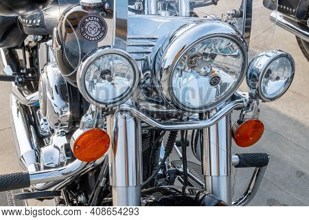 Kazan, Russia-september 26, 2020: Close Up Of The Front Of A Harley Davidson Motorcycle Standing In