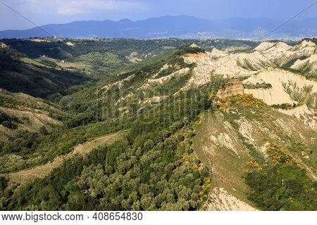 Civita Di Bagnoregio (vt), Italy - May 15, 2016: Soft Eroded Clay Landscape Around Civita Di Bagnore