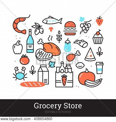 Grocery Store Vector Illustration Concept Isolated On White Background. Groceries, Food, Drink, Meal