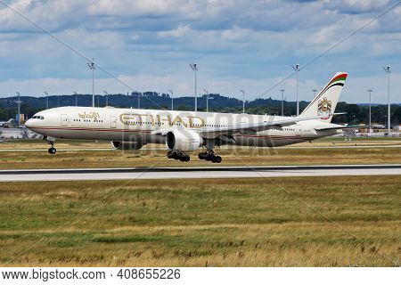 Munich, Germany - July 11, 2017: Etihad Airways Boeing 777-300er A6-etk Passenger Plane Arrival And