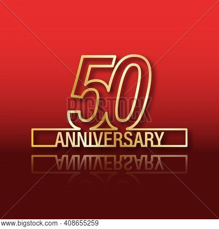 50 Anniversary. Stylized Gold Lettering With Reflection On A Red Gradient Background. Vector Illustr