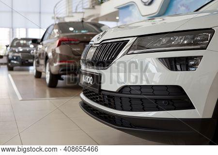 Russia, Izhevsk - September 25, 2020: Skoda Showroom. New Modern Cars In The Dealer Showroom. Volksw