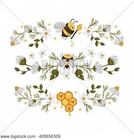 Honey Bee Border Frame. Vector Illustration. Horizontal Divider Frame Card With Daisy Flower. Sweet