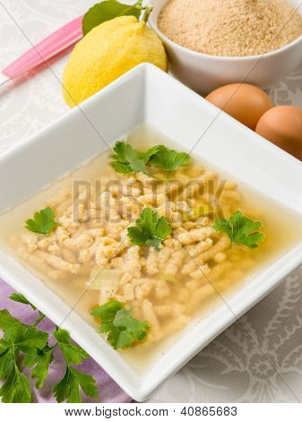 soup with passatelli, traditional italian recipe