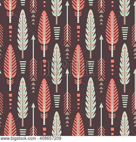 Native American Feather Seamless Pattern. Aztec Navajo Tribe Indian Art. Peru Geometric Vector Backg