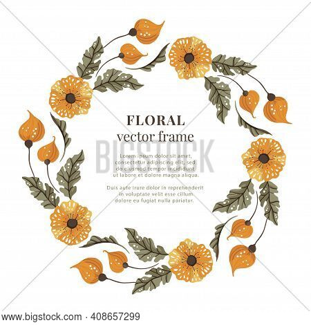 Floral Wreath Frame. Vector Meadow Orange Flower Illustration. Wedding Circle Element. Nature Isolat