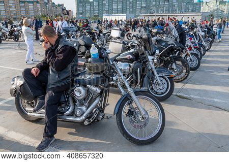 Kazan, Russia-september 26, 2020: Harley Davidson Motorcycle In The Parking Lot During A Meeting Of