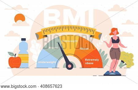 Body Mass Index Control Abstract Concept. Woman And Obese Chart Scales. Pretty Young Woman On Diet T