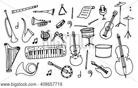 Classic Sketch Set With Black Doodle Musical Instruments Set On White Background. Doodle Vector Illu